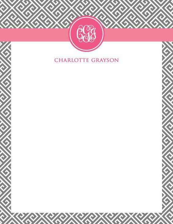 Printable Monogram Stationery 85 x 11 inches - Notecard, greek - printable notepad paper