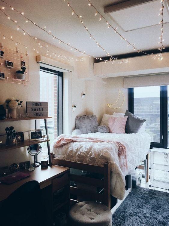 College Dorm Room Makeover In 2020 Beautiful Dorm Room Dorm