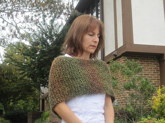 Handmade Scarves Knit Green  Brown Homespun Wrap Infinity Scarf Snood Cowl Circle Shawlet Shrug Capelet