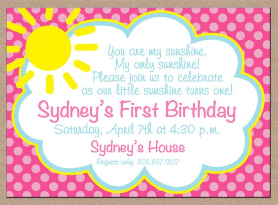4-12 Personalized Printed Girl You are My Sunshine Sun Clouds Birthday Invitations with envelopes