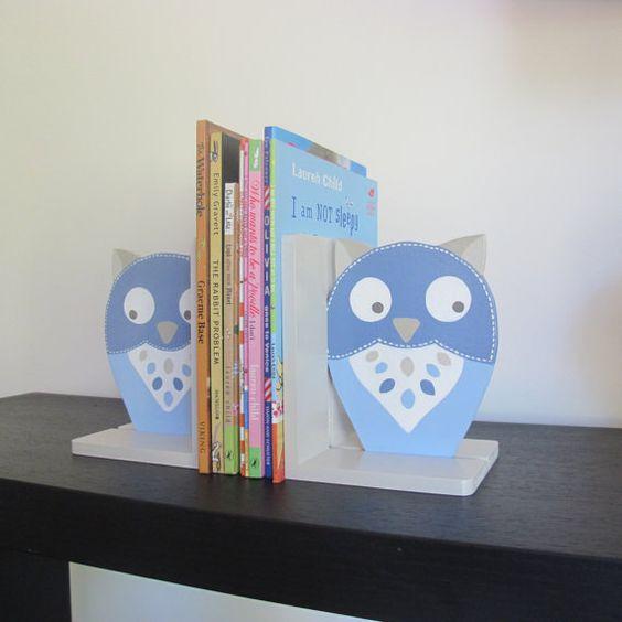lovely owl bookends for boys by redlovesgreen on Etsy