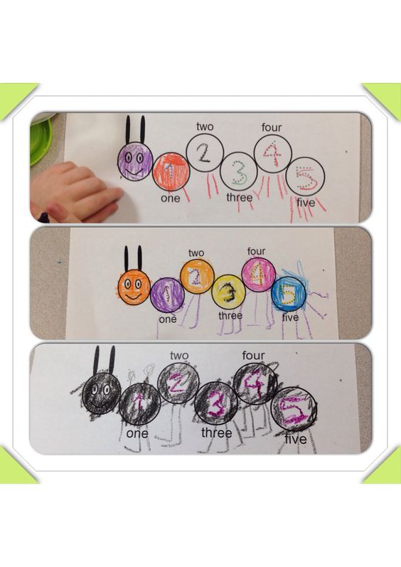 Caterpillar Counting (1-5 review, put number of legs under the number written in the circle)