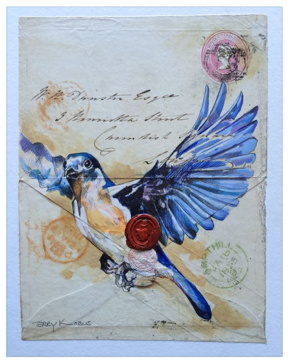Western Blue Bird on 1853 envelope with wax seal. Very special! Envelope Art - South African artist Terry Kobus © www.spinman.co.za