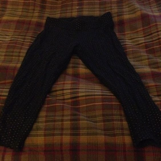 Black with very small polka dots Leggings black with very small gold polka dots capri length leggings Express Pants