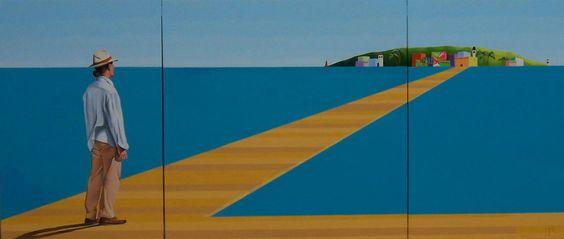 Isla Felicidad Mixta sobre tela Tríptico  81 x 189 cm.