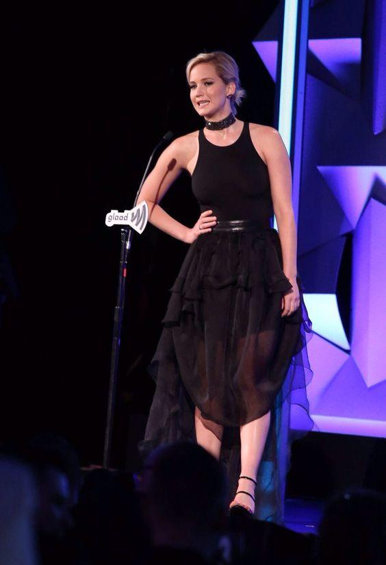 Jennifer Lawrence at the GLAAD awards