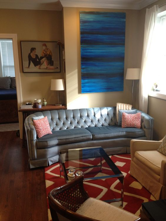 The Finished Living Room: Vintage 1977 Blue Velour Couch