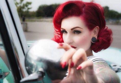 Red rockabilly hair