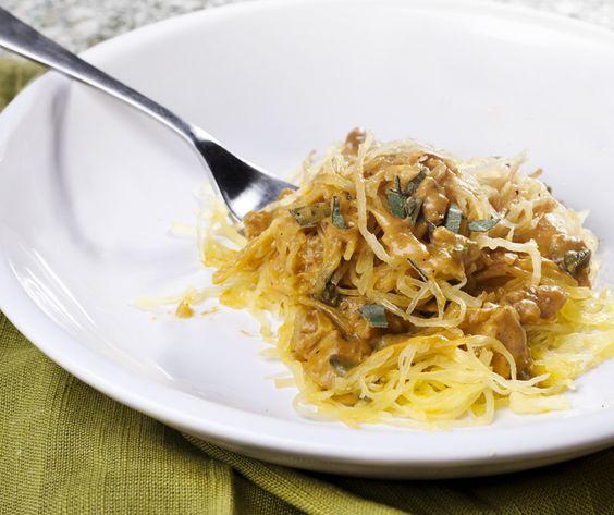 pumpkin cream sauce over spaghetti squash #vegan | Spaghetti Squash ...