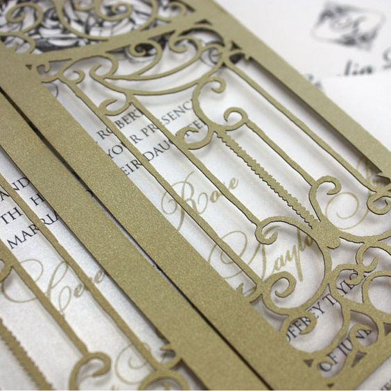 Laser cut invitation Wrought Iron Gatefold by KatBluStudio
