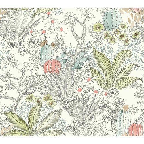 Flowering Desert 27 L X 27 W Wallpaper Roll Wallpaper Roll Floral Wallpaper York Wallpaper