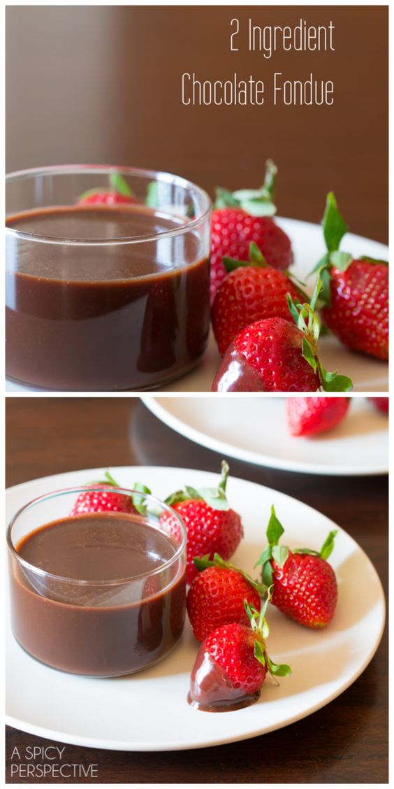 2 Ingredient Chocolate Fondue Recipe! #fondue #chocolate