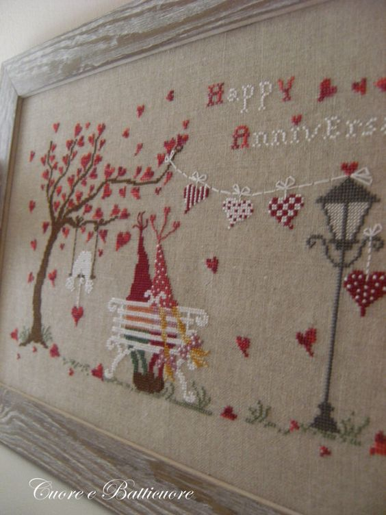 Stitch Count 198 x 125    A chart for a date not to forget, a happy anniversary to be celebrated in two, in the shadow of hearts and