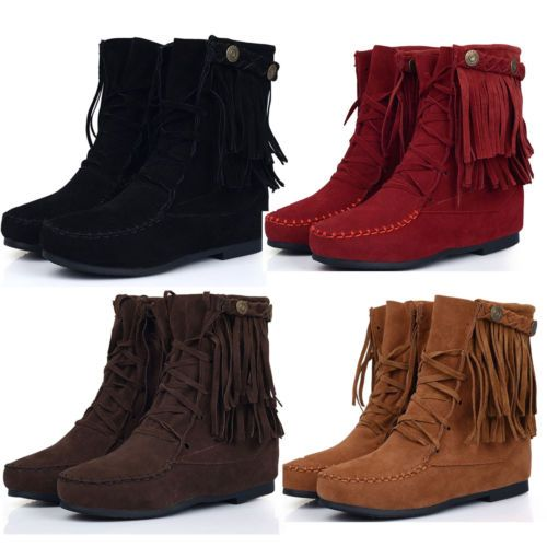 New Womens Warm Fringe Tassel Moccasin Shoes Lace Up Ankle Boots