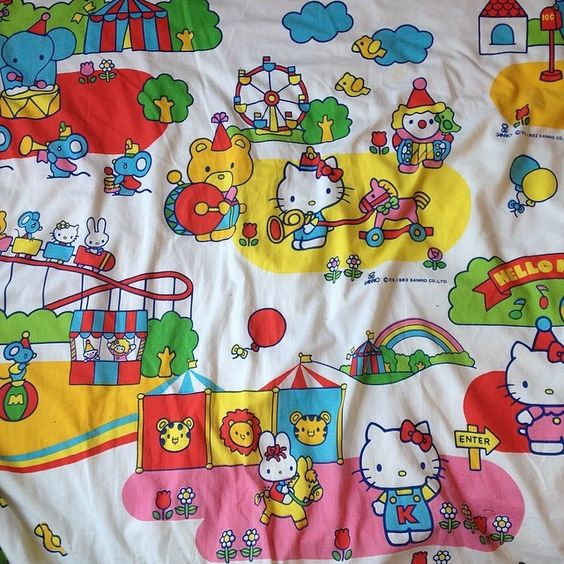 Hello Kitty carnival bed sheets.
