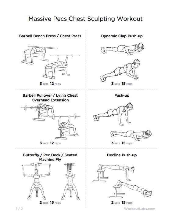chest workouts Workout Sheet Pinterest Saúde e fitness - workout sheet