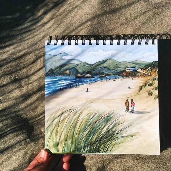Dune grass days...#sf #sanfrancisco #cliffhousesf #oceanbeach #sketch #sketchbook #drawing #draw #instaart #dailysketch #sketchbookskool #sketching #usk #urbansketch #watercolor #watercolour #pleinair