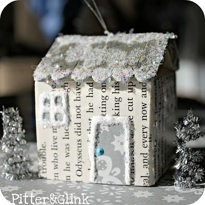 PitterAndGlink: Juice Carton Christmas House Ornament