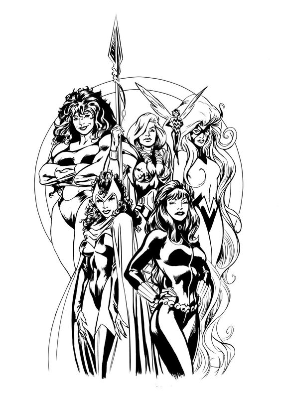 Women of Marvel from Jason Conrad (inks) and Alan Davis (pencils)  She-Hulk, Valkyrie, Wasp, Medusa, Scarlet Witch, and Black Widow