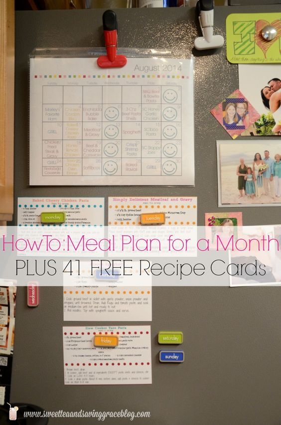 Monthly Meal Planning inc free printables & 41 free recipe cards