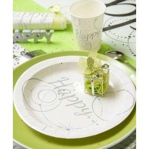 Assiette Happy carton pas chère, Assiette Happy carton blanc argent chic ronde 22.5 cm les 10, assiette carton plate, art de table, vaisselle jetable, fêtes, table festive, wedding, mariage, baptême, anniversaire