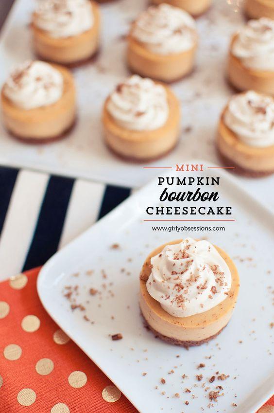 Mini Pumpkin Bourbon Cheesecakes with Brown Sugar and Bourbon Cream Recipe.  #pumpkin #cheesecake