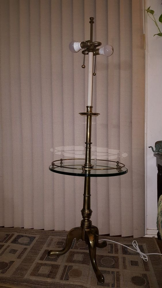 Stiffel Queen Anne Brass Floor Lamp Mcm Mid Century Modern Glass