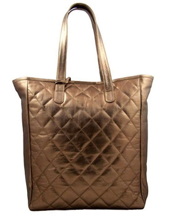 Fair trade quilted leather tote