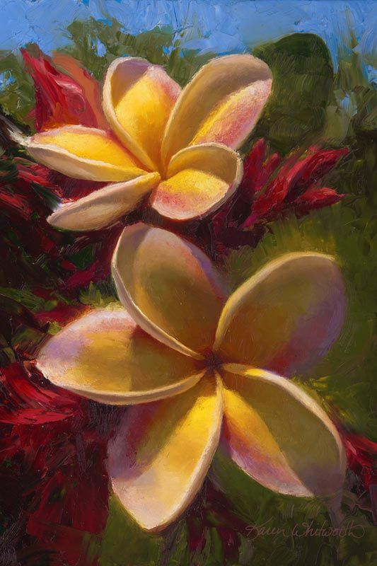 Tropical Plumeria Flower Wall Art Painting Of Hawaii Art In 2020 Flower Wall Art Art Hawaii Art
