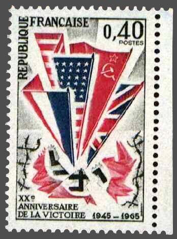 timbre france 1965 - 1450 - Drapeaux allies (francais, americain, russe, britannique) ecrasant une croix gammee pour le 20e anniversaire de la victoire de 1945.jpg