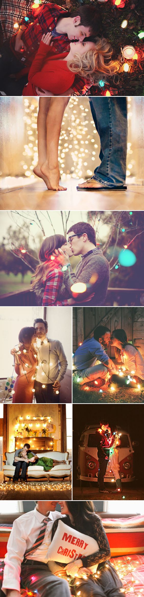 So Romantic! Ideas For Couple Photos Over Christmas - Looks SO Pretty With The Twinkling Lights!