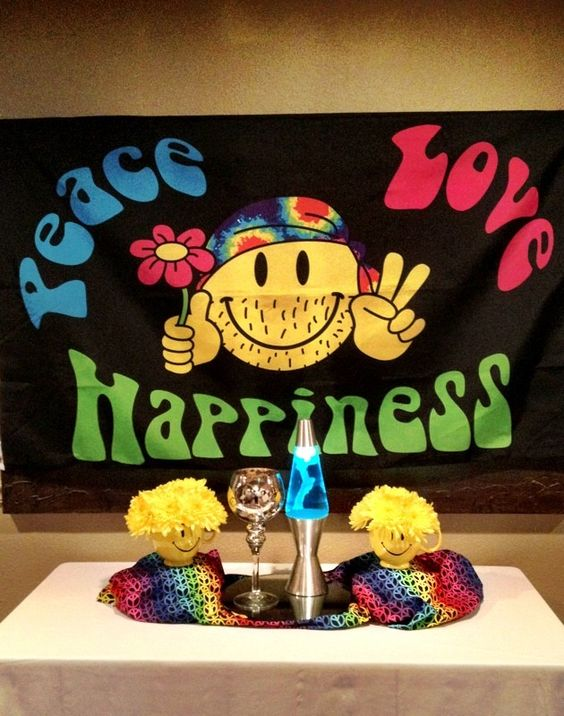 70s party decor by Bennett's Jonesboro Flowers and Gifts.