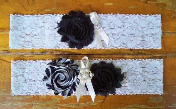 Black Garter Set by BloomsandBlessings on Etsy