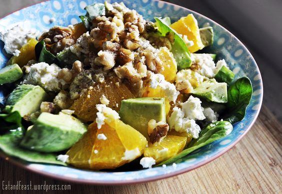 Spinatsalat mit Avocado, Orangenfilets und Ingwer | Eat and Feast