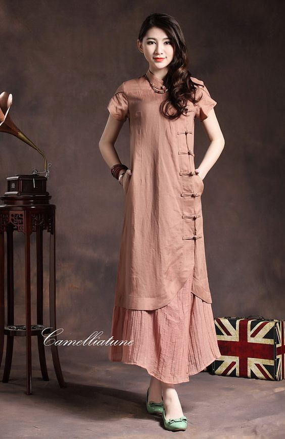 Maxi Linen Dress in Pink / Layered Bridesmaid Dress / Cocktail Dress on Etsy, $107.68 AUD