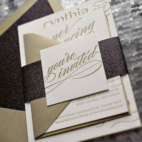 cynthia suite glitter package classic wedding invitations belly bands and classic weddings - Wedding Invitation Belly Band