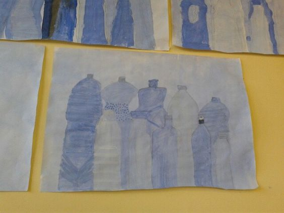 Painting still life images... Bottles and blue paint...great for linear perspective and use of tone! #art #primaryschool: