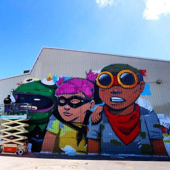 Work in progress by Hebru Brantley in Hawaii for @powwowworldwide #streetart #streetartnews @hebrubrantley by streetartnews
