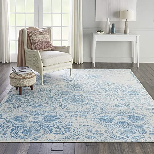 Amazing Offer On Nourison Jubilant Vintage Damask Blue Area Rug 7