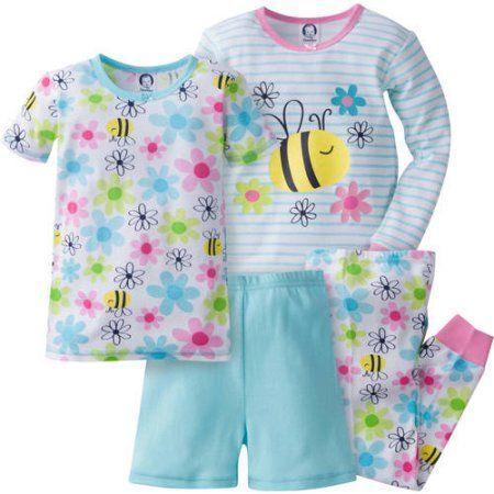 Gerber Baby Toddler Girl Cotton Pajamas, 4-Piece, Blue