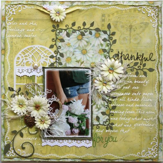 """""""Thankful for You"""" layout in sage green with ivory."""