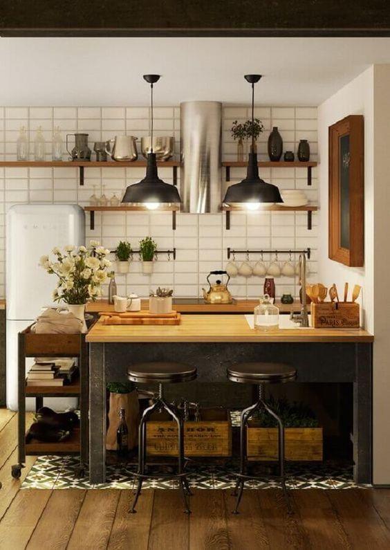 キッチン 床 インテリア 無垢フローリング ブルックリン インダストリアル コーディネート例