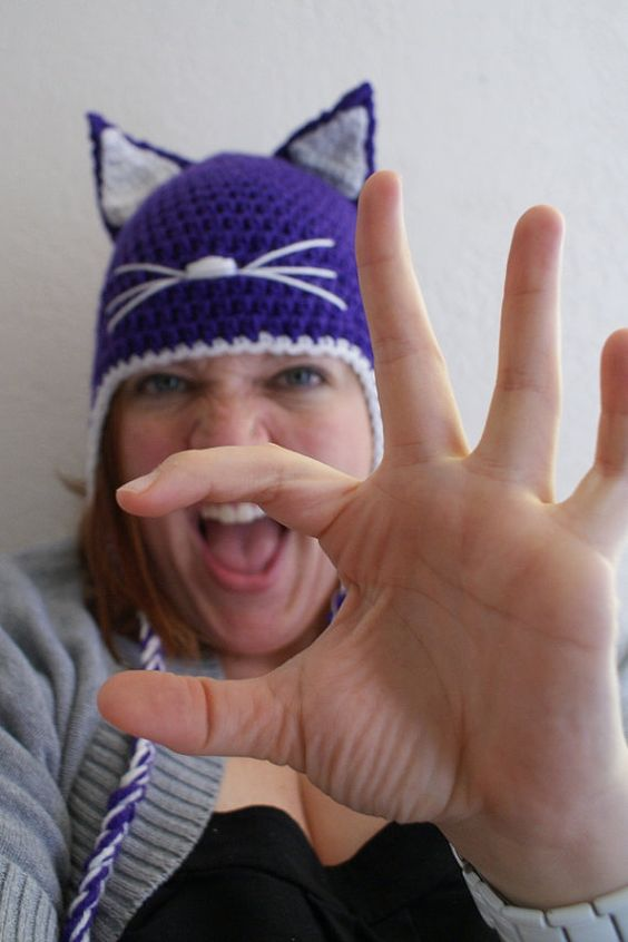 Adult Wildcat Hat - in purple. ACU!! :) $25