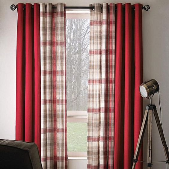 Instead of solid red curtains, I would use chocolate or dark brown ...