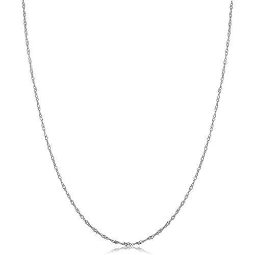 Kooljewelry 10k White Gold 0 7 Mm Singapore Chain Necklace 16 Inch White Gold Necklace Chain Gold Chain With Pendant 18 Inch Gold Chain