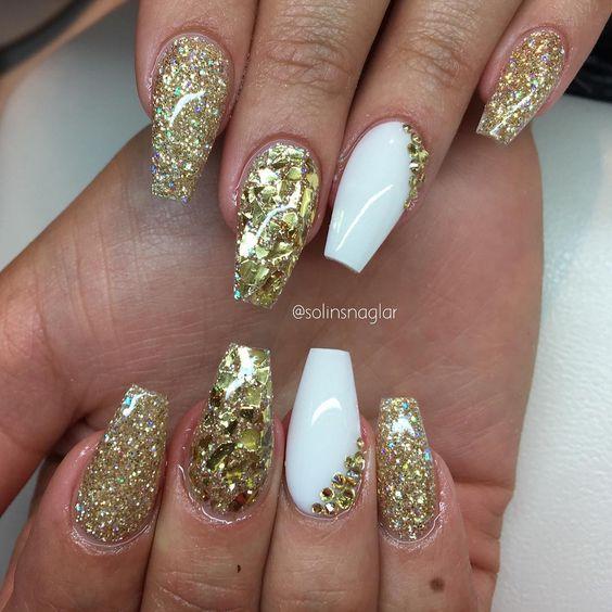 Gold Glitter + Gold Flakes + White Coffin Nails #nail # ...