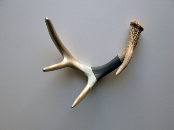 Silver, Seafoam & Navy Striped Painted Antler - Small. $85.00, via Etsy.