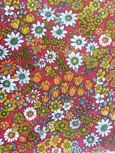 tissu neuf coton beldecor fleur orange rouge prix au metre vintage annees 70 dark red and. Black Bedroom Furniture Sets. Home Design Ideas