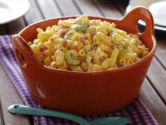 Recipe of the Day: Old-Fashioned Macaroni Salad          Tossed with crunchy celery and ham, plus a creamy mustard-mayonnaise dressing, the Neelys' traditional salad is a go-to addition to your holiday barbecue menu.           #RecipeOfTheDay