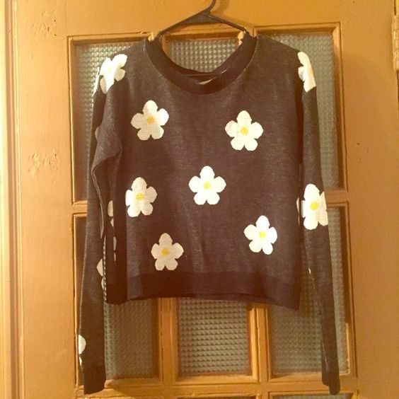 Daisy Crop Sweater NWT Size Medium  Adorable crop top daisy sweater. NWT & never worn. Size medium. t/o Sweaters Crew & Scoop Necks